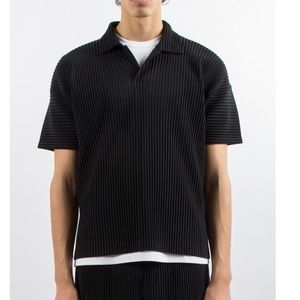 Issey Miyake Homme Plisse Shirt Polo Top Black 2